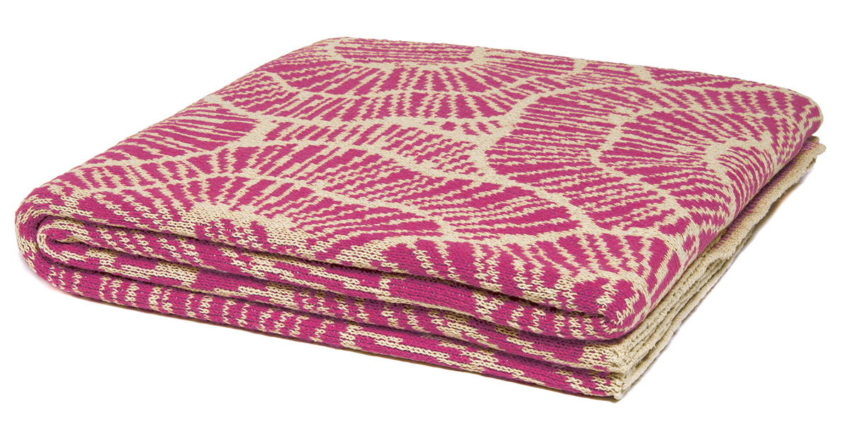 Poppy Fuchsia/Marled Flax-  <a href='https://www.in2green.com/collections/stacy-garcia-collection/products/eco-poppy-throw' style='text-decoration: underline;'>Where to Buy</a>